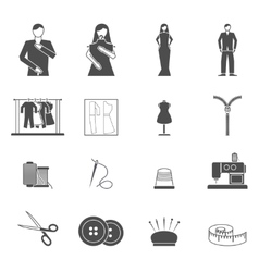 Fashion designer tools icon set vector image vector image