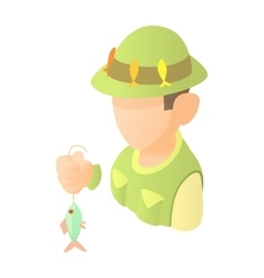 Fisherman with fish icon cartoon style vector image