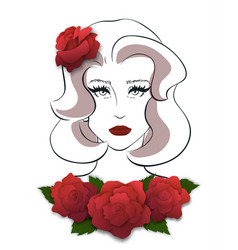 front view of beautiful young woman vector image