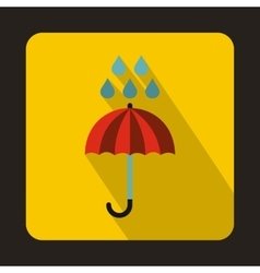 Red umbrella and rain drops icon flat style vector