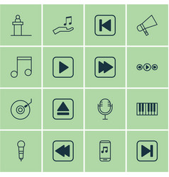 set of 16 audio icons includes extract device vector image vector image