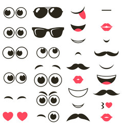 Set of cartoon eyes and mouths vector