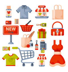 Supermarket grocery shopping retro cartoon icons vector