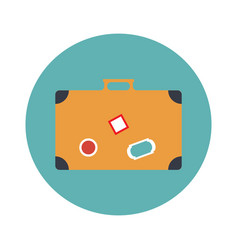 travel briefcase with handle flat icon vector image