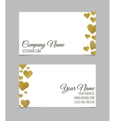 Visiting card with golden foil heart shape design vector image
