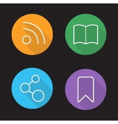 Web browser interface linear icons set vector