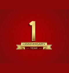 1 year anniversary golden design color vector