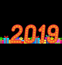 2019 and gift boxes on a dark background vector image
