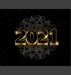2021 black and gold happy new year decorative vector image