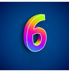 3d Number Six vector