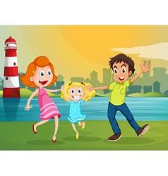 A happy family near river across the vector