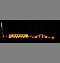 Ahmedabad light streak skyline profile vector
