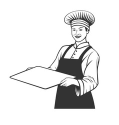 baker with a tray vector image