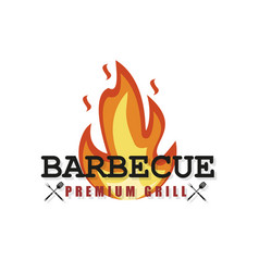 bbq party barbecue set in style bbq logo summer vector image