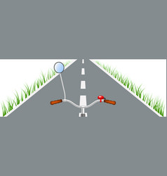 Bicycle handlebar road and grass vector