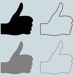 Black and other color hand with finger up vector