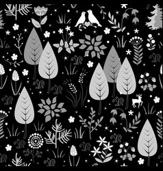 black and white pattern with birds flowers and vector image