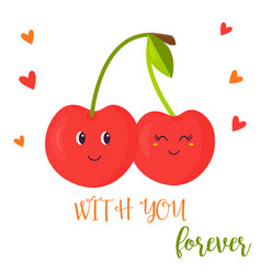 bright poster with cute couple sweet cherry vector image