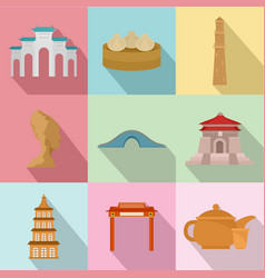 Building of the century icons set flat style vector