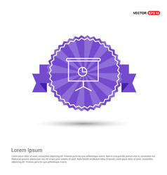 business graph icon - purple ribbon banner vector image