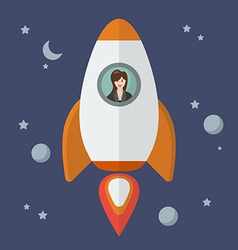 Business woman on a rocket vector image