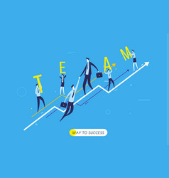 businessman climbing graph help vector image