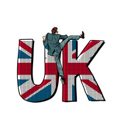 businessman overcomes border uk word flag vector image