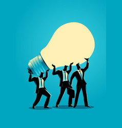 Businessmen lifting up a light bulb together vector