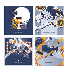 cards set dedicated to filming movie vector image