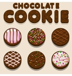 Cartoon chocolate cookie biskvit food vector