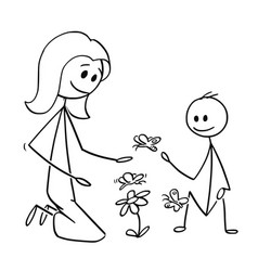 cartoon of mother and son watching flowers and vector image