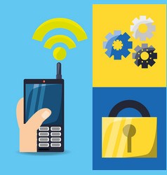 cellphone with wifi connect and gears with padlock vector image