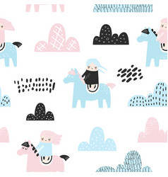 Childish seamless pattern with cute girls clouds vector