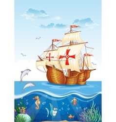 Childrens of the water world with a sailing ship vector