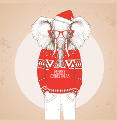 christmas hipster fashion animal elephant vector image