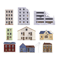 collection abandoned and destroyed houses vector image