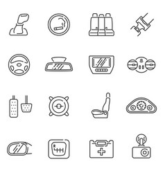 Collection car interior details line icon vector