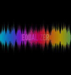 Colorful equalizer on dark background rainbow vector