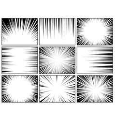 Comic book radial lines collection comics vector