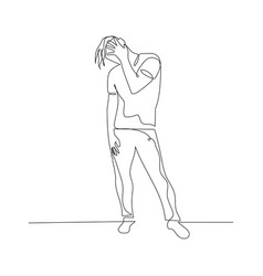 Continuous one line dancing man with hand on face vector