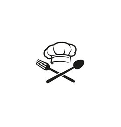 Creative chef hat spoon fork logo symbol design vector