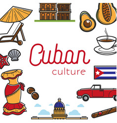Cuban culture promo banner with national symbols vector