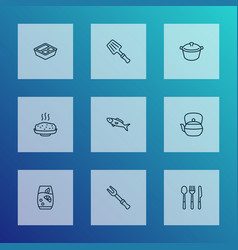 culinary icons line style set with teapot vector image