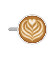 Cup of tasty coffee with tulip and heart latte art vector