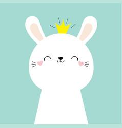 Cute bunny rabbit face head icon kawaii hare vector