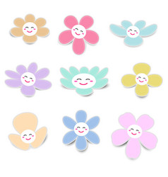 cute flower paper with smiley face on white vector image
