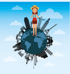 cute young woman with map tourist in world vector image