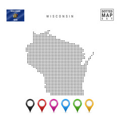 Dots pattern map wisconsin stylized silhouette vector