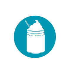 Drinks smoothie cream and wafer straw blue block vector