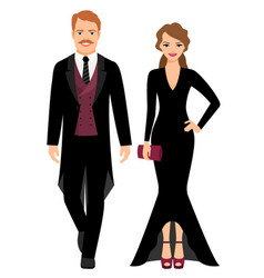 Evening fashion couple in black clothes vector